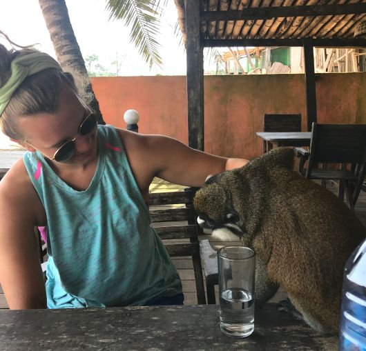 Cooper Robinson with a monkey during her stay in Ghana.