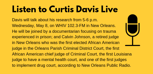 Details on Curtis Davis radio spot, 5-6 p.m. May 8, WHIV 102.3-FM